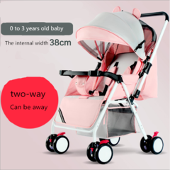 Convenient stroller lightweight folding can sit lie baby simple umbrella car mini carriage pink As shown in figure
