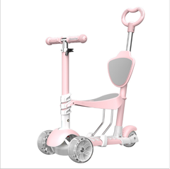 Children's scooter flash wheelbarrow baby can sit can scooter three roller skating pink as shown in figure