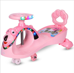 1-3 years old children car baby toys walk bring music wanxianglun machine-cleaned pulled pink as shown in figure
