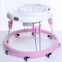 Baby walkers side turn 6 to 18 months, learning to walk step folding hand push car pink as shown in figure
