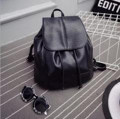 Euramerican Stylish PU Leather Backpack Drawstring Travel Bag black one size