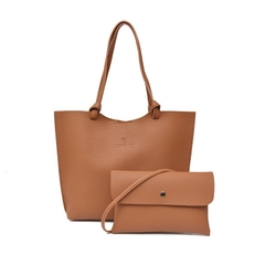 2 Pcs/Set Fashion Summer Women Leather Handbag+Crossbody Bag PU Leather Solid Color Ladies Bags brown one size