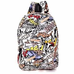 Hippie Canvas Backpacks Student School Bag Cartoon Print Rucksack Travel Pack Laptop Graffiti explosion letters one size