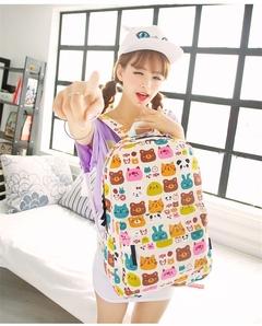 Hippie Canvas Backpacks Student School Bag Cartoon Print Rucksack Travel Pack Laptop Graffiti bear one size