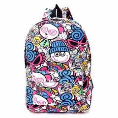 Hippie Canvas Backpacks Student School Bag Cartoon Print Rucksack Travel Pack Laptop Graffiti blue hats one size