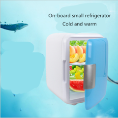 4 liters automotive mini fridge home dual-use small dormitory household The refrigerator blue As shown in figure