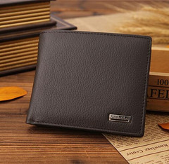 Men's Short Paragraph Wallet Business Casual Leather PU Wallet Fashion Wallet brown 11.5 cm * 9.5 cm * 2.5 cm