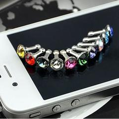 1pic Imitation diamond dust plug 3.5mm iphone android universal earpin dust plug random