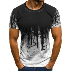 Men's Fashion Printed Camouflage Short-sleeved T-shirt white m cotton