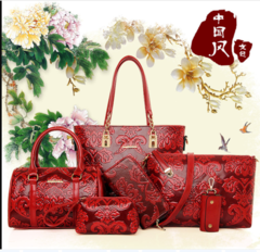 A six-piece fashion lady's bag with one shoulder and cross-body bag red As shown in figure