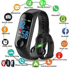 CB M3 Color Screen Smart Sport Fitness Bracelet Waterproof Blood Pressure Tracker Smart Watch black pcs