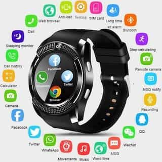 Smart Watch V8 Men Bluetooth Sport Watches Women Ladies Rel gio Smartwatch with Camera Sim Card Slot black pcs 4