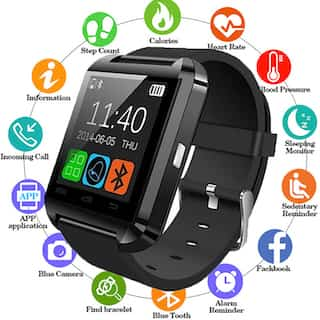 Smart Watch V8 Men Bluetooth Sport Watches Women Ladies Rel gio Smartwatch with Camera Sim Card Slot black pcs 2