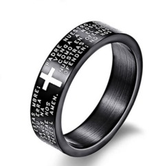 CB Fashion Scripture Cross Bible Text Jesus Tattoo Men Ring Rings For Women Titanium Steel Jewelry blue pcs