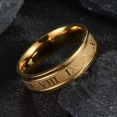 CB Stainless Steel Wedding Band Ring Roman Numerals Gold Black Cool Punk Rings gold pcs