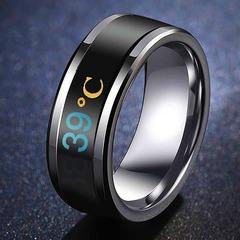 CB Temperature Ring Titanium Steel Mood Emotion Feeling Intelligent Temperature Sensitive Rings blue pcs