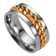 The Punk Rock Accessories Stainless Steel Black Chain Spinner Rings For Men blue pcs