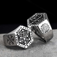 Nordic mythology Viking rune stainless steel  rings  for man and women  Kabala totem Index Ring silver pcs