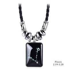New Pendant Necklace Galaxy Constellation Design 12 Zodiac Sign Horoscope Astrology Necklace 2 pcs