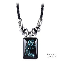 New Pendant Necklace Galaxy Constellation Design 12 Zodiac Sign Horoscope Astrology Necklace 1 pcs
