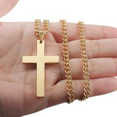 Vintage Cross Pendant Necklace Stainless Steel Necklace New Design Black Chain Pendant Necklace blue pcs