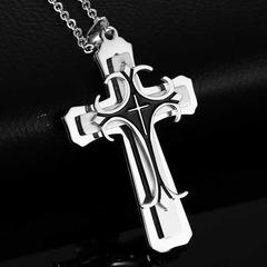 2019 New Fashion Cross Pendant Necklace for Men Multi-layer Metal  Creative Cross black pcs