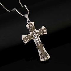 New Fashion Big Cross Necklace for Men Creative Three-layer Cross Pendant Necklace black pcs