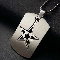 Cool Boy Hollow Star Pendant Chain Stainless Steel Man Necklace Leather Choker Charm white pcs