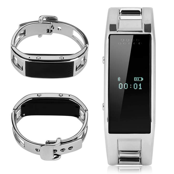 Bluetooth Smart Bracelet Watch for Android IOS Sliver