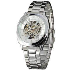 Men Stainless Dial Automatic Mechanical Watch Silver+White