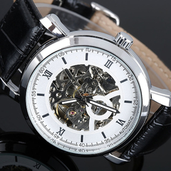 Men Leather Strap Automatic Mechanical Watch Black+Sliver
