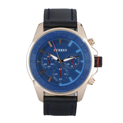 Men Leather Strap Military Wristwatch Blue