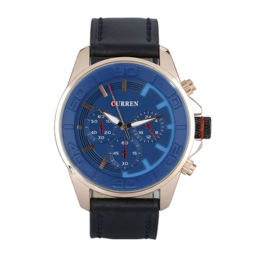 Men Leather Strap Military Wristwatch Blue