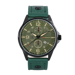 Men Quartz Leather Military Army watch Green