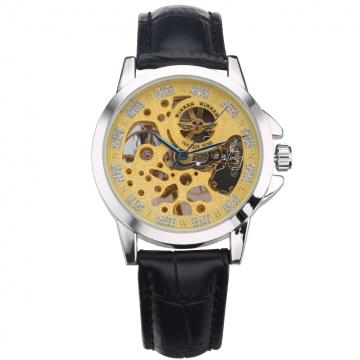 Women Mechanical Vintage Dial Wristwatch Yellow