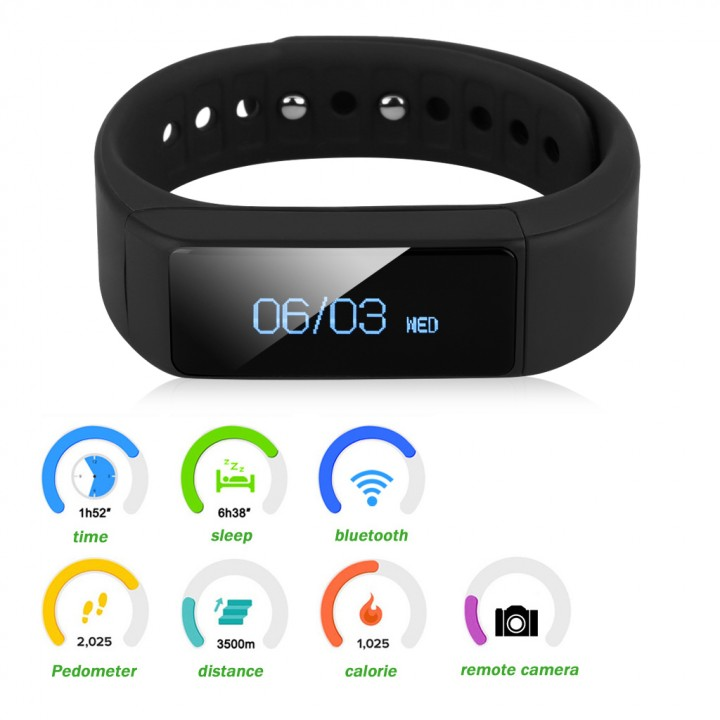 Excelvan OLED IP65 Waterproof Bluetooth 4.0 Touch Screen Smart  Bracelet Wristband for Android IOS Black