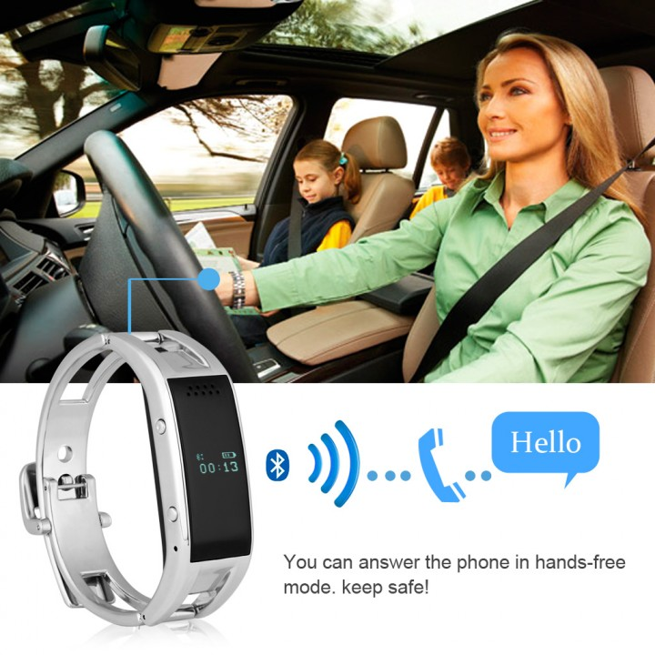 Bluetooth Smart Bracelet Watch for Android IOS Silver One Size