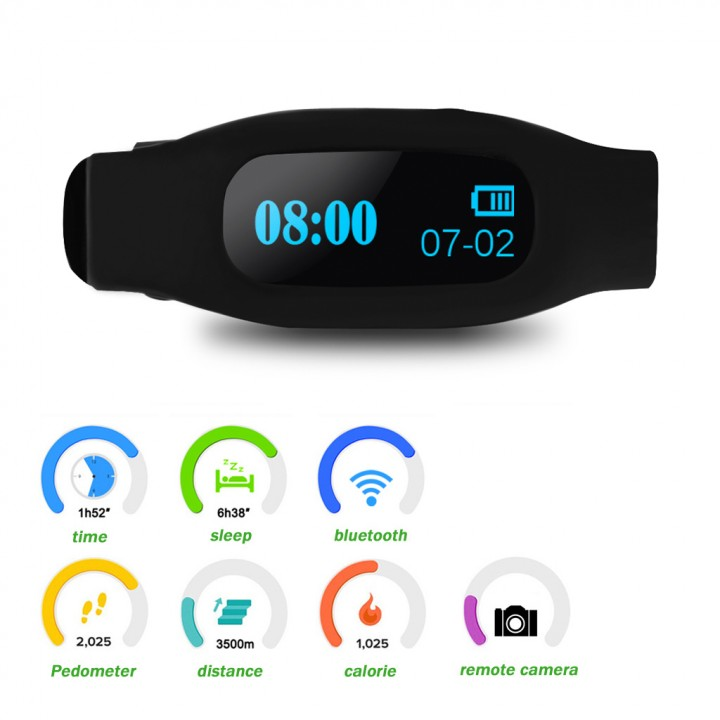 Bracelet Bluetooth V4.0 Wristband for Android and IOS Black