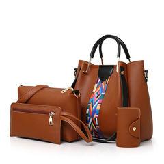 HX Women's fashion four-piece handbag + shoulder bag + card package + key bag brown f