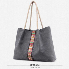 HX Canvas handbags national wind printing large capacity durable wild shoulder bag Fashion gray f