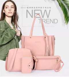 HX 4pcs leather ladies diagonal bag handbag solid color female tassel fashion shoulder bag wallet pink f