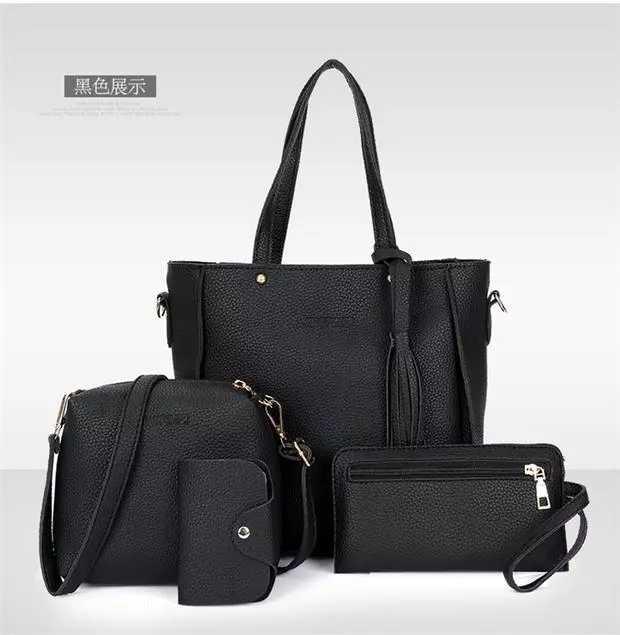 HX 4pcs PU leather ladies diagonal bag handbag solid color female tassel fashion shoulder bag wallet black f