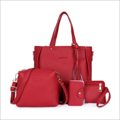 HX 4pcs leather ladies diagonal bag handbag solid color female tassel fashion shoulder bag wallet red f