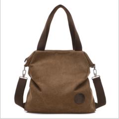 Women's bag canvas short-term travel bag durable large-capacity portable diagonal multi-function bag brown f