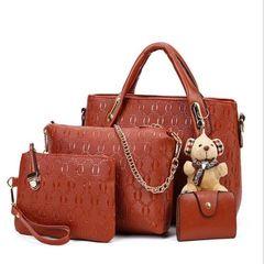 HX 4PCS fashion luxury high-end handbag shoulder bag PU leather genuine brown f