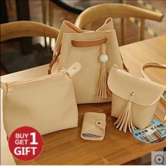 Handbags 4PCS Elegant Solid Color Design Women's Luxury Shoulder Bag Tote Khaki f