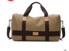 Large capacity luxury and durable canvas travel bag luggage bag diagonal shoulder bag Khaki f