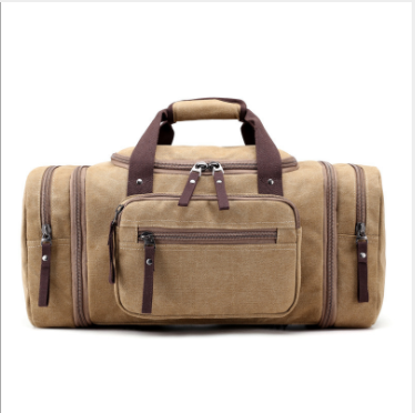 HX Large-travcapacity portable el canvas men's bag travel bag short-distance travel bag Khaki f