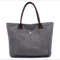 HX Ladies bag retro simple large capacity canvas bag wild shoulder bag grey f