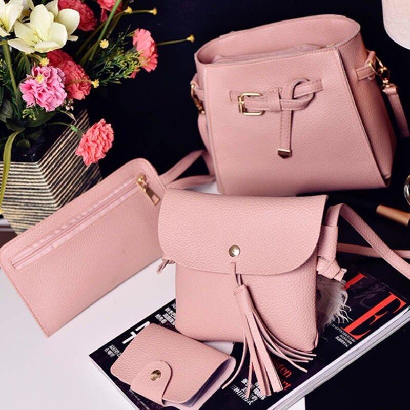 642f966bf843 HX 4PCS lychee tassels versatile fashion single shoulder diagonal bag  handbag pink f